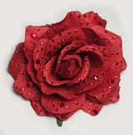 """Graziella"" Red Crystal Embellished Hair Flower Pin"