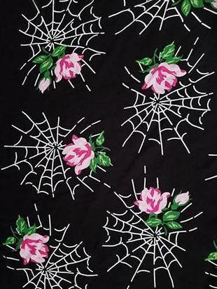 """Webs And Roses"" Fabric in Rayon Crepe"