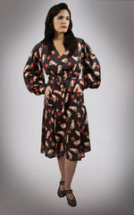 """Severine"" 1940s Style Bishop Sleeved Hands and Roses Print Dress"