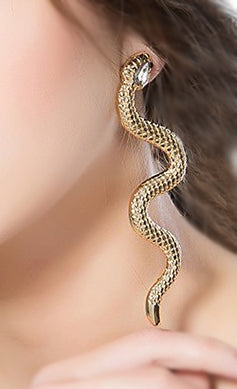 """Arista"" Golden Snake Dangle Earrings"