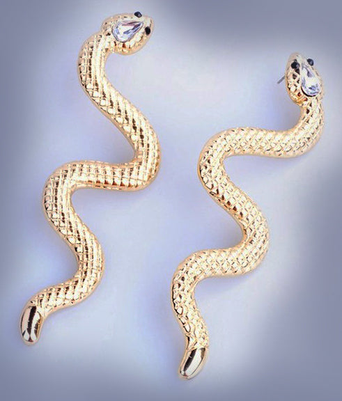 """Arista"" <br>Golden Snake Dangle Earrings"