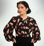 """Ava"" <br>Blouse in ""Rosalind"" Hand and Rose Print"