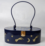 """Emma"" Mid-Century Style Acrylic Purse - Blue and Gold"