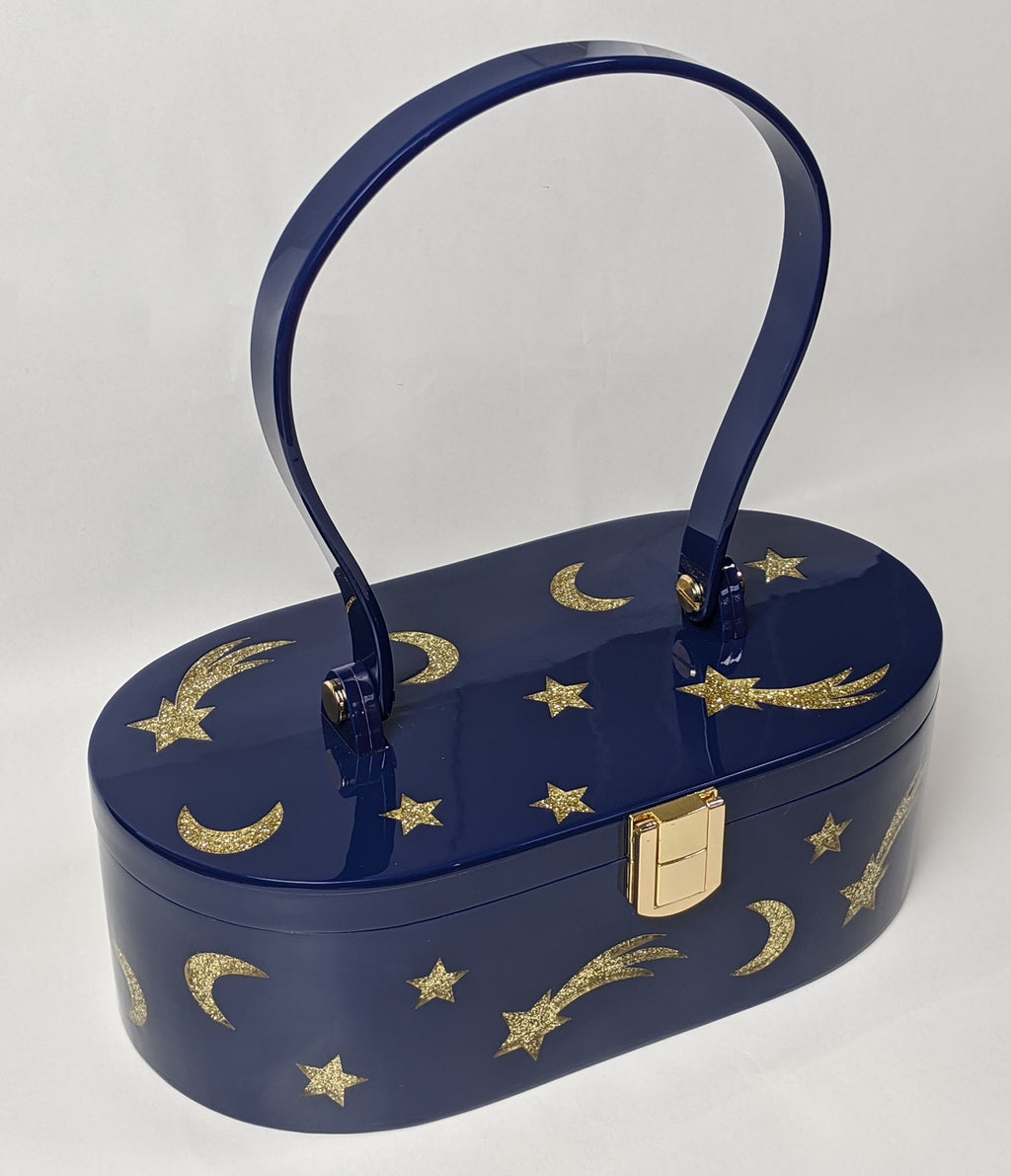 """Emma"" Mid-Century Style Blue and Gold Acrylic Purse"