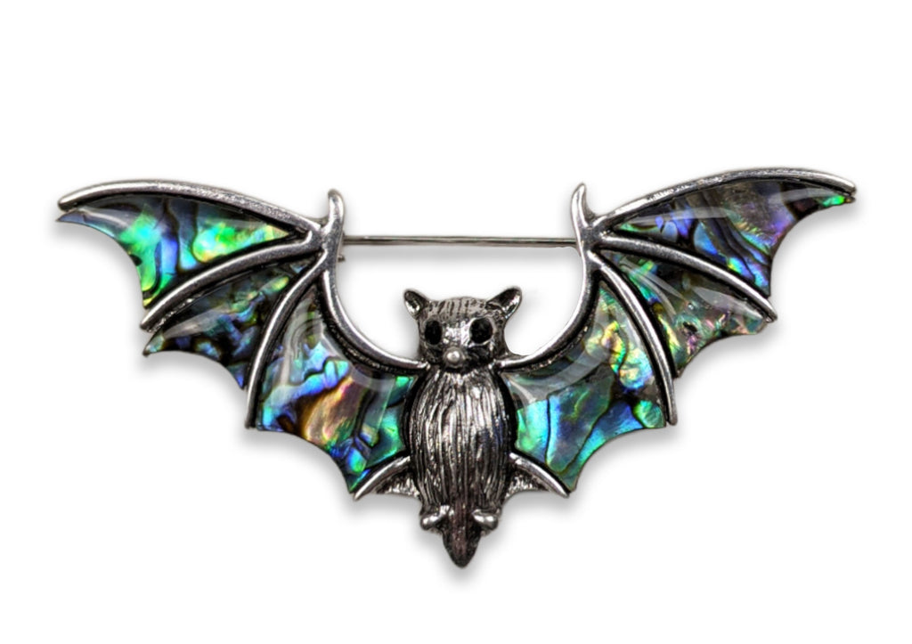 """Elsie"" Abalone and Silver-tone Bat Brooch"