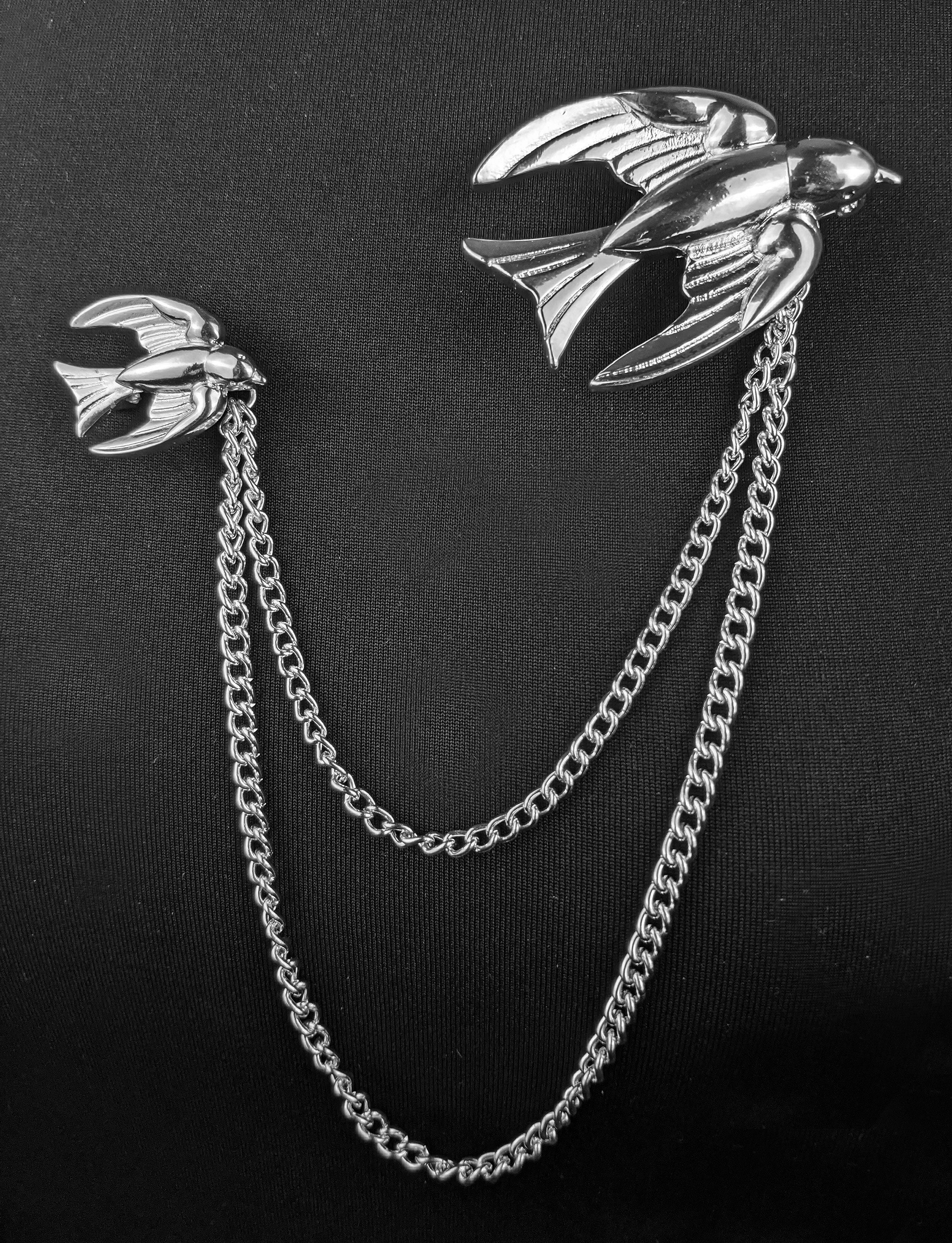"""Etienne"" Silver-tone 1940's Style Swallows Brooch Pair"