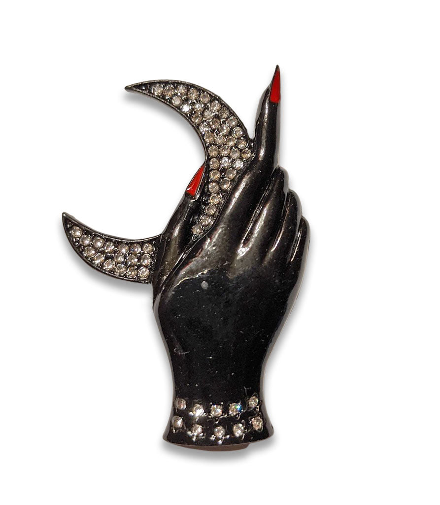"""Odalys"" Hand and Moon Brooch"