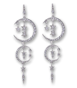 """Camille"" <br>Moon and Star Chandelier Earrings"