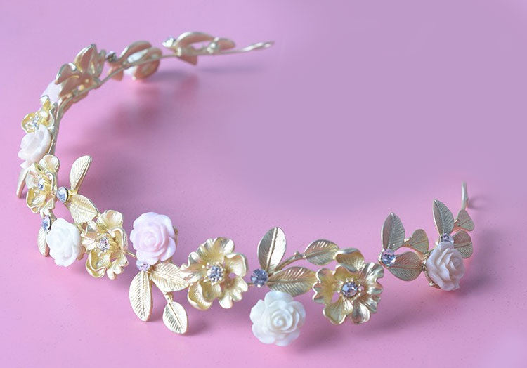 """Cara"" <br>Gold Tone Rhinestone and Enamel Hair Garland"