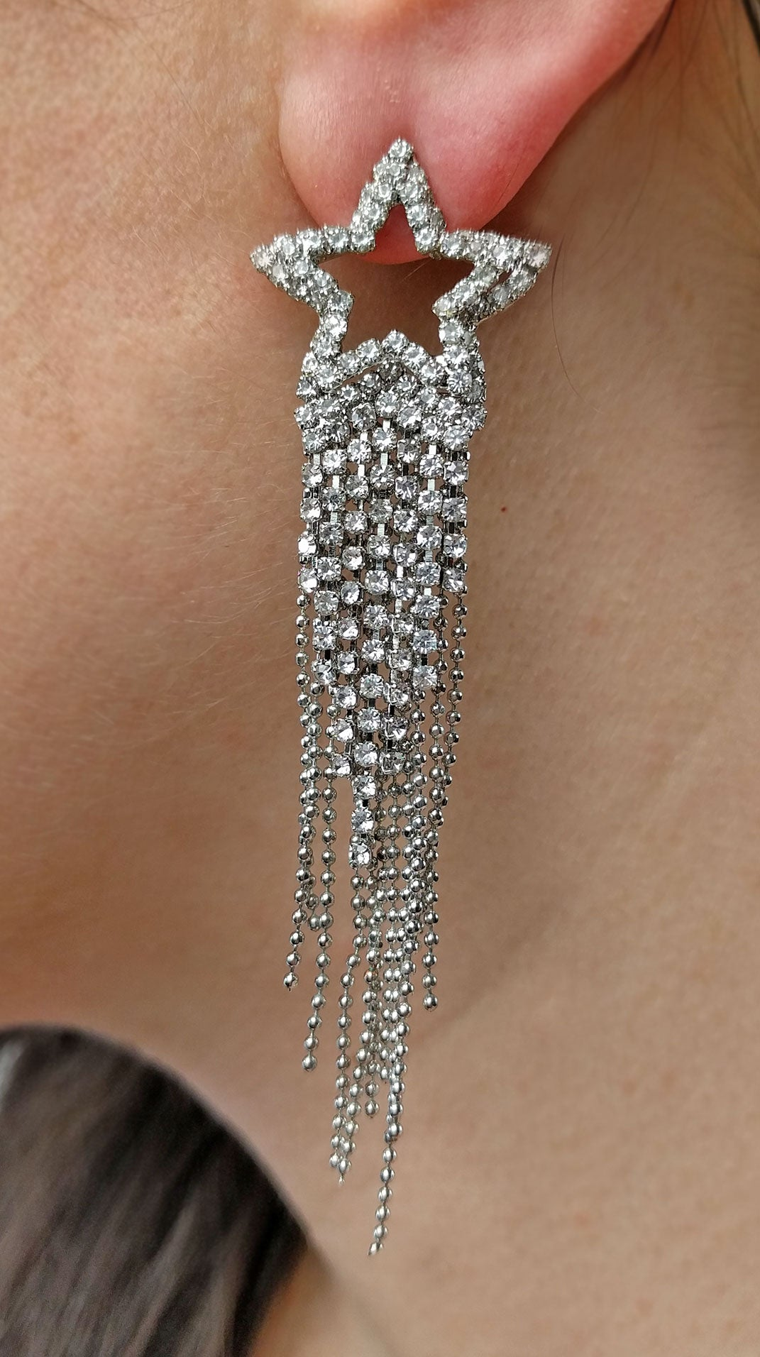 """Caroline"" <br>Rhinestone Shooting Star Cascade Earrings"
