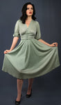 """Ceris"" <br>Mint Green Lurex 1940s Style dress"