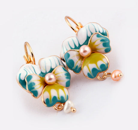 """Chloe"" <br>Enamel Pearl Floral Earrings"