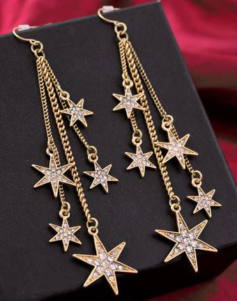"""Christine"" Gold Star Tassel Earrings"