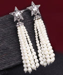 """Colleen"" Star and Faux Pearl Tassel Earrings"