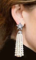 """Colleen"" <br>Star and Pearl Tassel Earrings"
