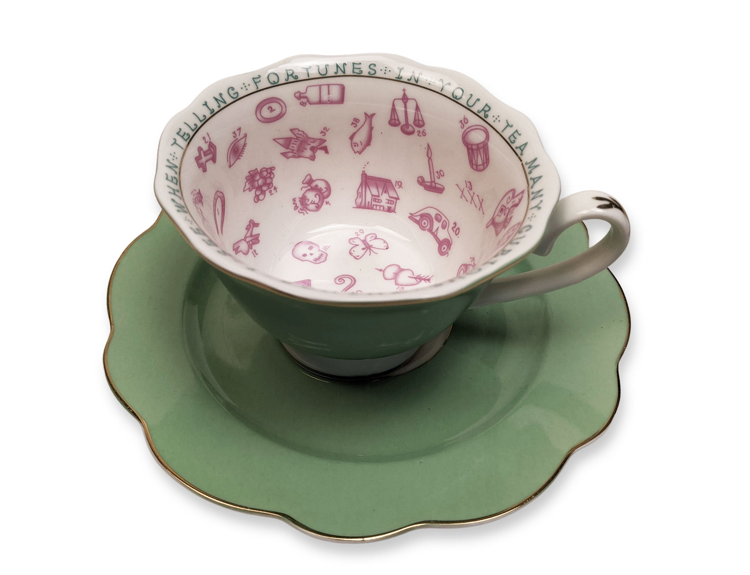 """Natalie"" 1920s Style Fortune Telling Teacup and Saucer Set"