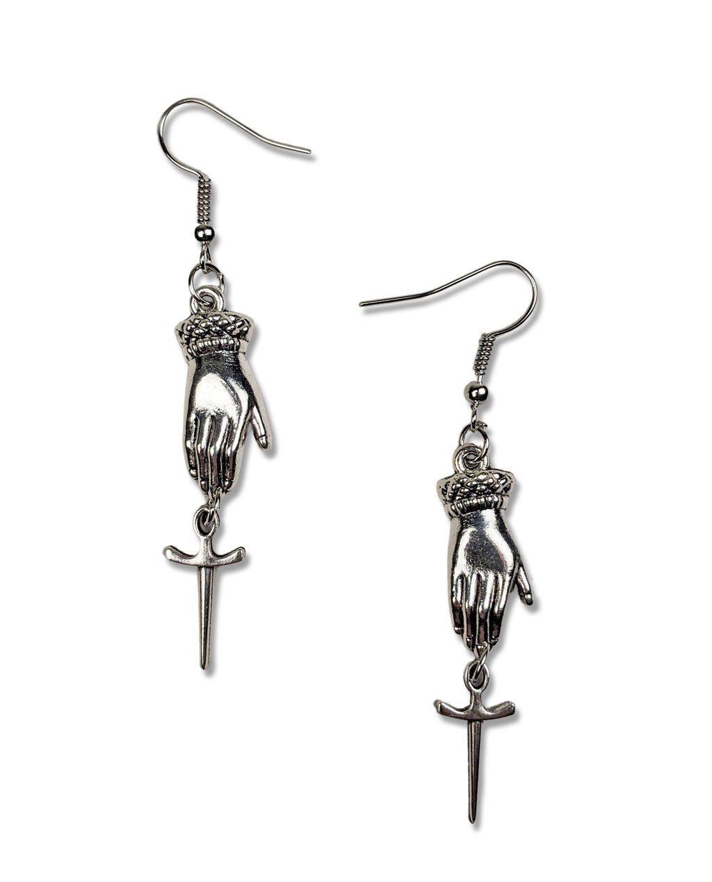 """Abby"" Silver-tone Hand and Dagger Earrings"