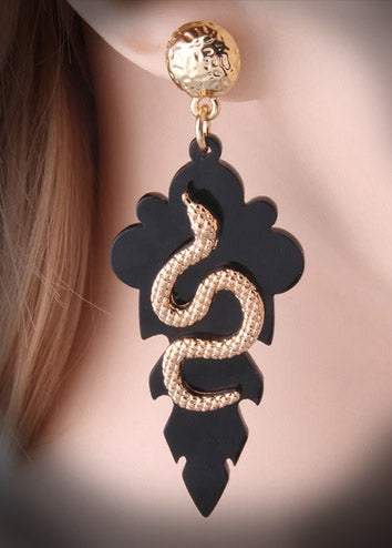 """Ada"" Black Leaf and Snake Earrings"