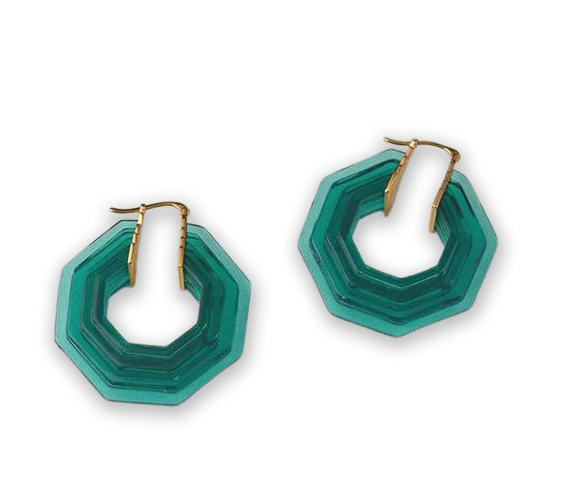 """Bette"" Emerald Green Art Deco Style Earrings"