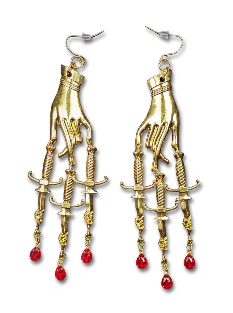 """Demetria"" Hand with Blood Drop Earrings"