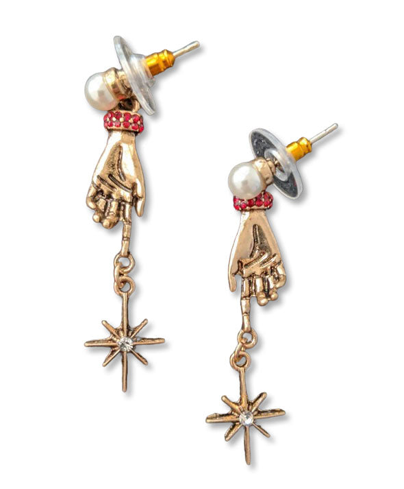 """Therese"" Gold-tone Hand and Star Earrings"