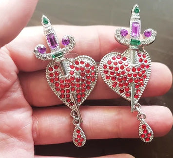 """Jezebel"" Heart and Dagger Earrings"