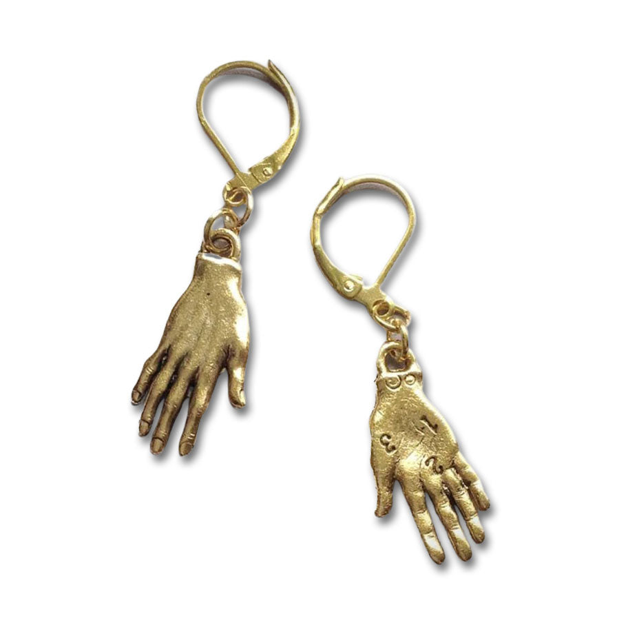 """Rumi"" Golden Hand Earrings"