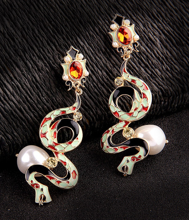 """Thisbe"" <br>Enamel Snake Earrings"