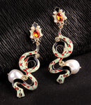 """Thisbe"" Enamel Snake Earrings"