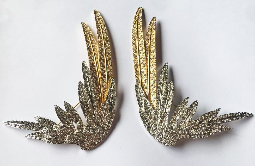 """Freya"" Art Deco Style Wing Brooch Pair"