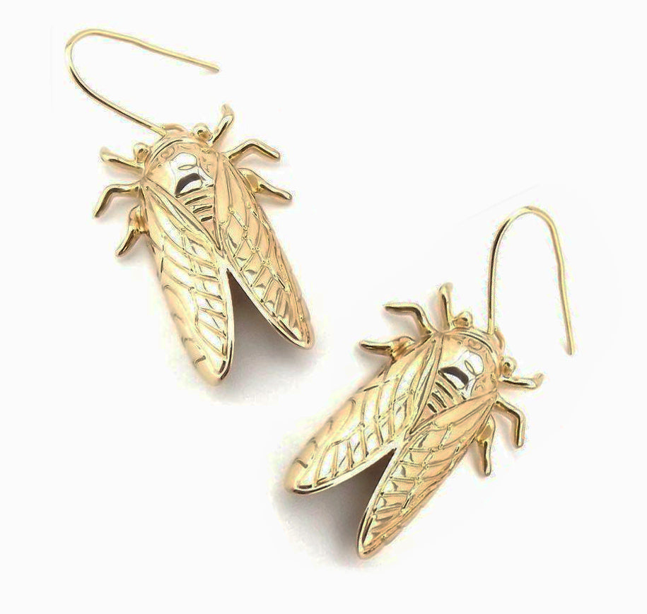 """Gilda"" Golden Cicada Earrings"