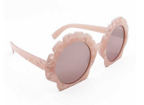 """Kailee"" 1940's Style Pink Seashell Sunglasses"