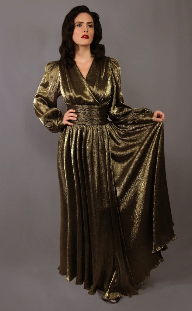 """Honora"" <br>Gold Lame 1940's Style Bishop Sleeve Gown"