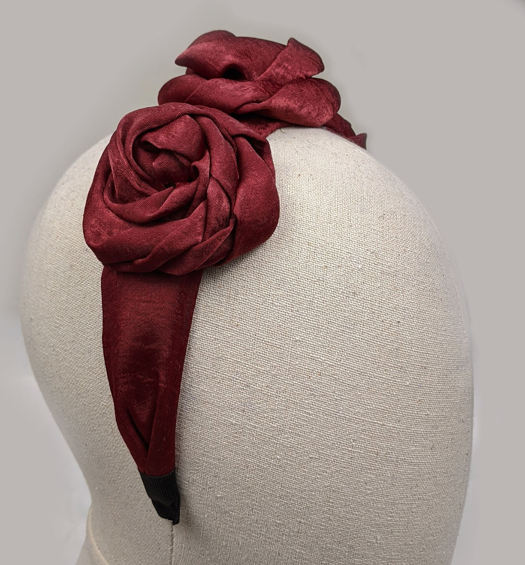 """Norah"" Burgundy Satin Roses Headband"