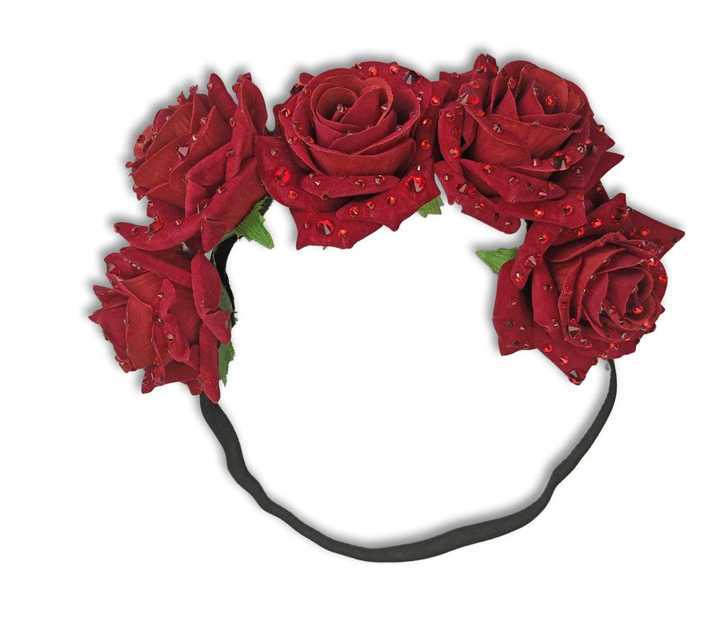 """Darcy"" Red Roses with Rhinestones Headband"