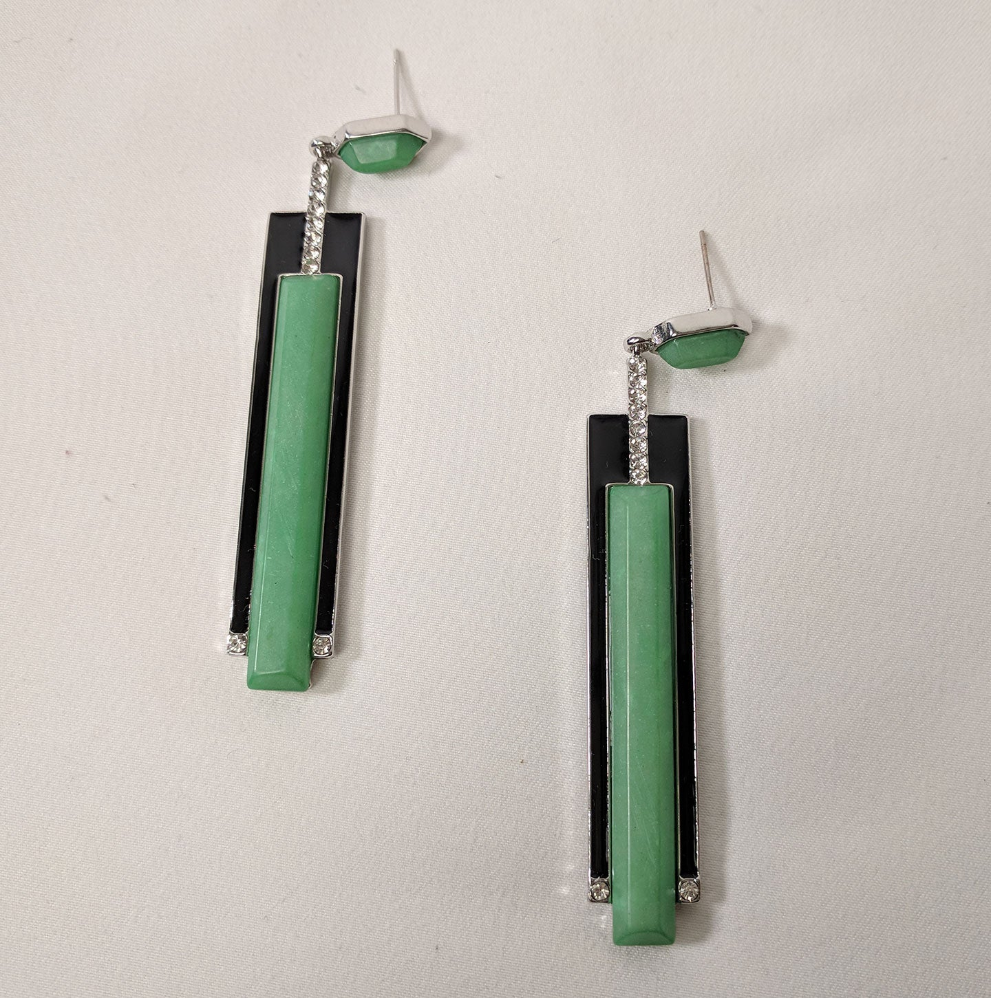 """Jacqueline"" Streamline Art Deco Style Earrings"