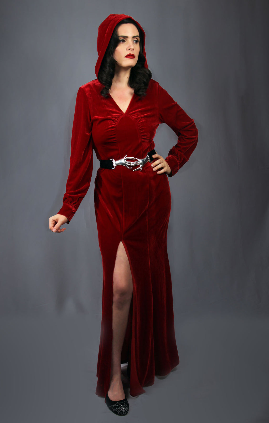 """Narcissa"" <br>Velvet 1930s Style Crimson Hooded Gown"