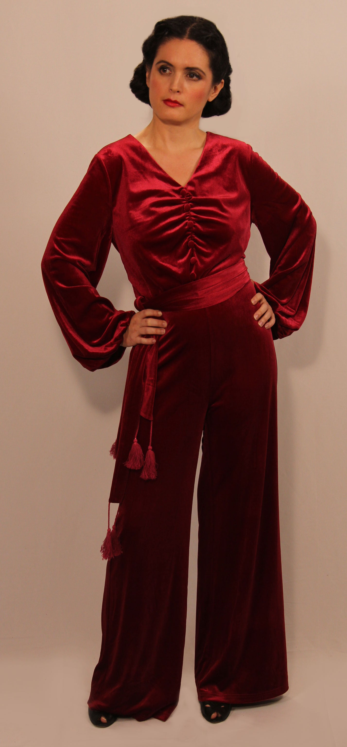 """Oriens"" <BR>1930's Burgundy Velvet Bishop Sleeve Jumpsuit"