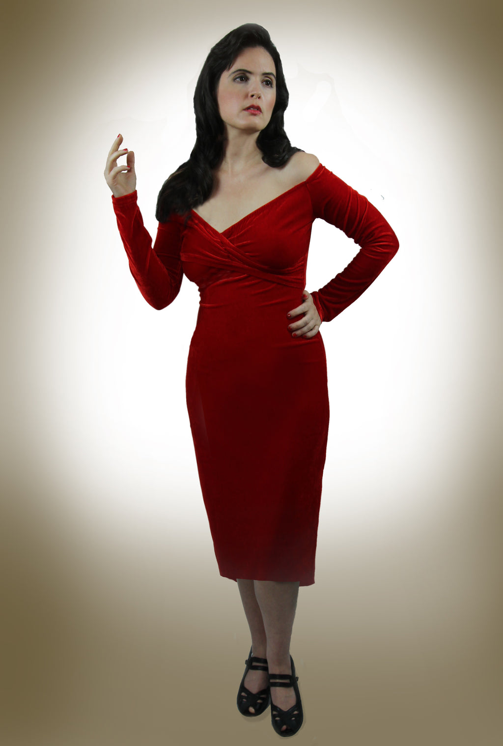 """Ravenna"" <br>1950s Mid length Red Velvet Cocktail Dress"