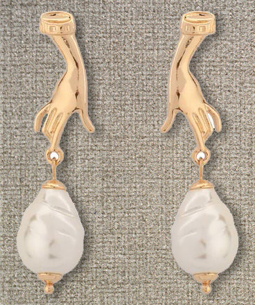 """Samantha"" <br>Hand and Pearl earrings"