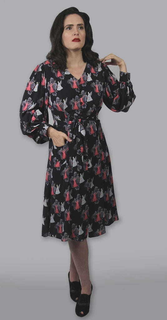"""Severine"" 1940s Style Bishop Sleeved Devil and Angel Print Dress"