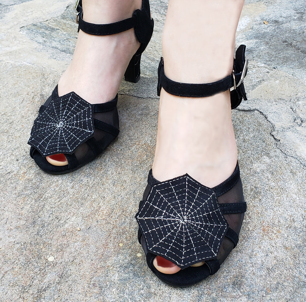 """Pandora"" <br>1930s Style Hand Embroidered Spider Web Heels"