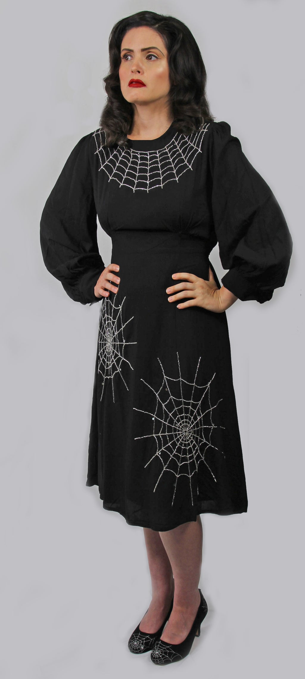 """Columba"" 1940s Style Spiderweb Dress"