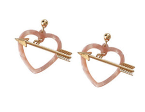 """Zoe"" <br>Pink Heart and Arrow Earrings"