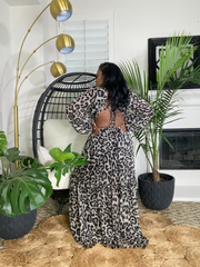 LEOPARD PRINT LONG SLEEVE MAXI-DRESS ( Leopard print is pre-order: estimated  ships 5/8/21)