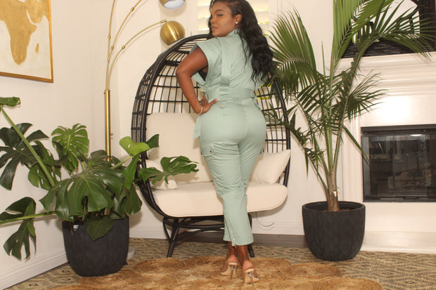 Sage Button front Jumpsuit