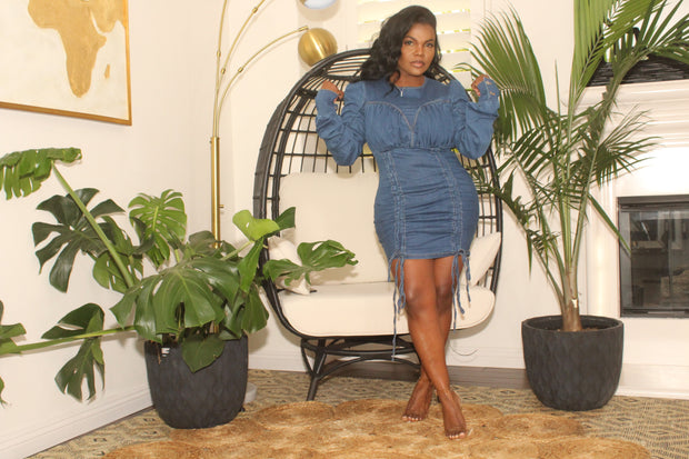 Long sleeve Denim dress with ruching details