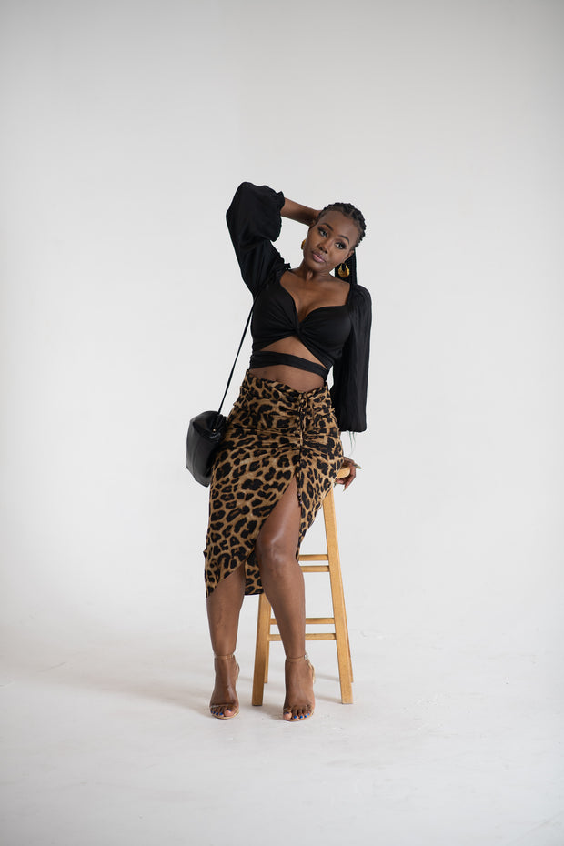 Leopard Print, ruched front skirt