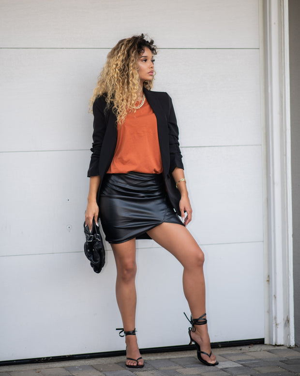 Drapped Vegan Leather skirt