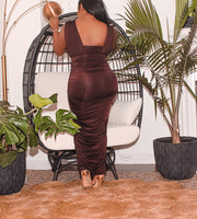 Chocolate Brown Ruched Dress